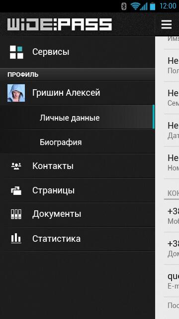 menu макет app